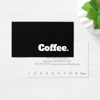 Simple Word Dark Loyalty Slab Coffee Punch-Card Business Card