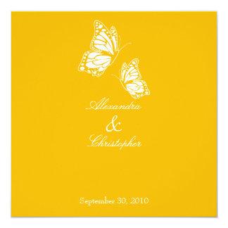Simple Yellow Butterflies Wedding Announcement