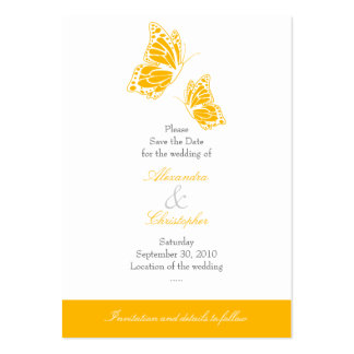 Simple Yellow Butterfly Save The Date Wedding Mini Pack Of Chubby Business Cards