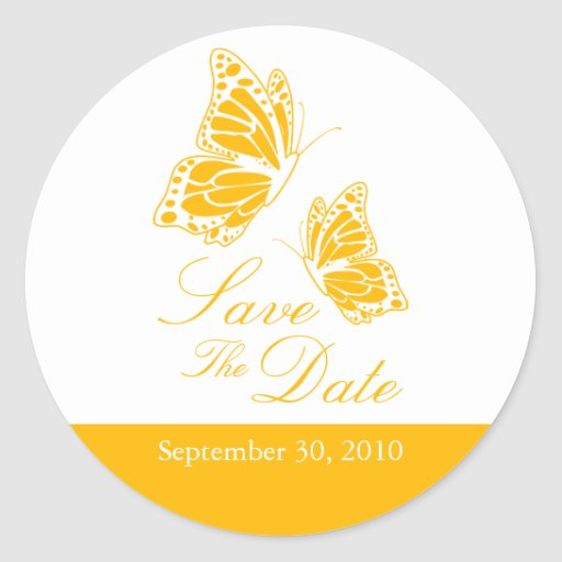 Simple Yellow Butterfly Save The Date Wedding Sticker
