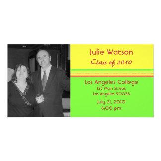 simple yellow green pink graduation photo greeting card