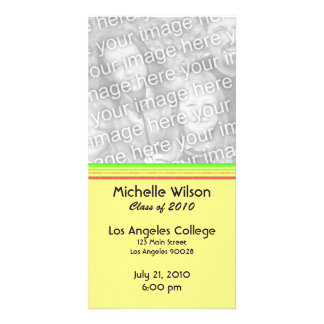 simple yellow pink green graduation photo card