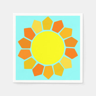 Simple Yellow Sun Paper Serviettes
