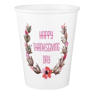 Simple yet Elegant Happy Thanksgiving | Paper Cups