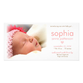 Simplicity Baby Girl Photo Birth Announcement Customised Photo Card