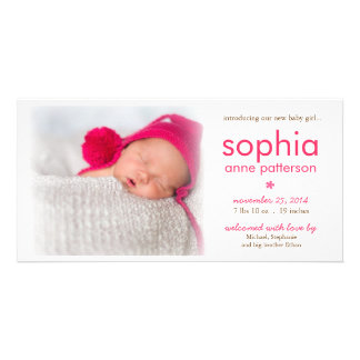 Simplicity Baby Girl Photo Birth Announcement Picture Card