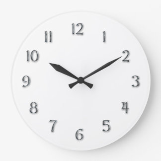 """Simplicity-""""Faux Pewter"""" Numerals Large Clock"""