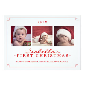Simplicity in Red Baby's 1st Christmas Photo Card 13 Cm X 18 Cm Invitation Card