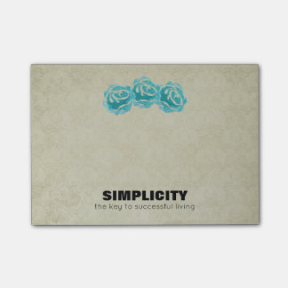 Simplicity Typography Quote with Teal Roses Post-it Notes