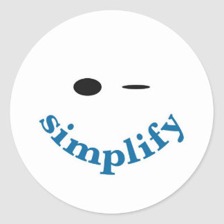 Simplify (with a blue smile) round sticker