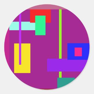 Simplistic Minimal Art Design Dark Magenta Round Stickers