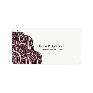 Simplistic Minimalist Black and Purple Medallion Address Label
