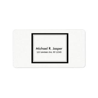 Simplistic Minimalist Black and White Address Label
