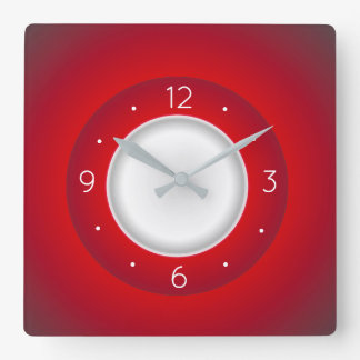 Simplistic Red and White > Square Kitchen Clocks