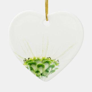 Simplistic White Zinnia Ceramic Heart Decoration