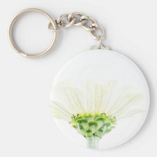 Simplistic White Zinnia Key Ring