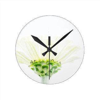 Simplistic White Zinnia Round Clock