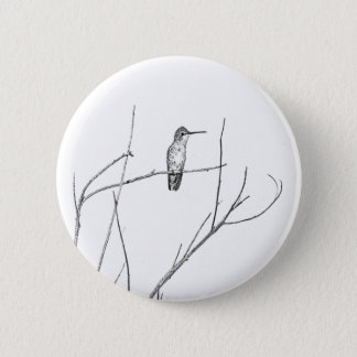 Simply a Hummingbird on a stick 6 Cm Round Badge