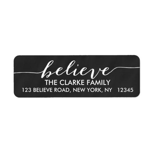 Simply Believe Chalkboard Holiday Greeting Return Address Label