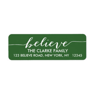 Simply Believe Green White Holiday Greeting Return Address Label