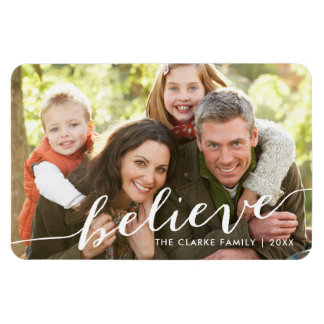 Simply Believe Holiday Full Photo Rectangular Photo Magnet