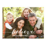 Simply Believe Holiday Photo Postcards | Gray