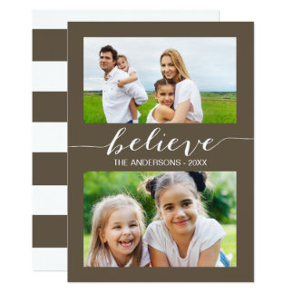 Simply Believe   Holiday Two Photo Card Taupe 13 Cm X 18 Cm Invitation Card