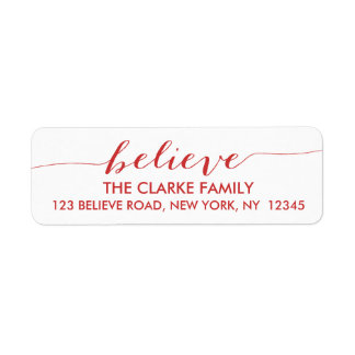 Simply Believe Red Return Address Label