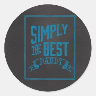 Simply Best Daddy Blue Chalkboard Round Sticker