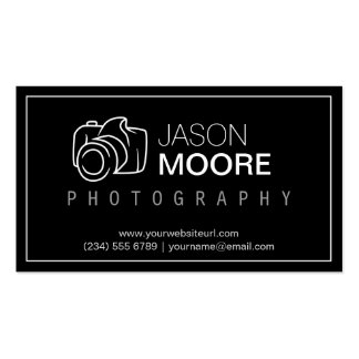 Simply Black White Camera Outline Logo Photography Pack Of Standard Business Cards