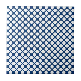 Simply Blue Quatrefoil Pattern - blue and white Ceramic Tile