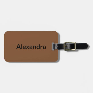 Simply Brown Solid Color Luggage Tag