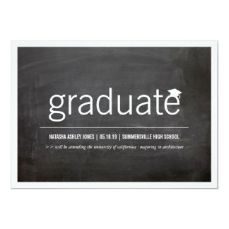 Simply Chalkboard Modern Graduate Graduation Photo Card