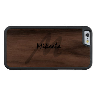 Simply Custom Personalized Monogrammed Carved Walnut iPhone 6 Bumper Case