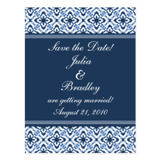 Simply Dazzling Damask Save the Date Postcard