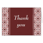 Simply Dazzling Damask Thank You Card, Maroon Card