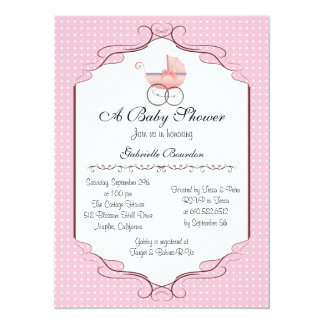 "Simply Elegant Baby Shower Personalized Invite 5.5"" X 7.5"" Invitation Card"
