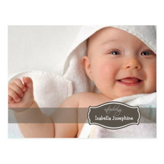 Simply Elegant (chocolate) Baby Birth Announcement Postcard