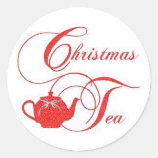 Simply Elegant Christmas Tea Party Round Sticker