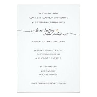 "Simply Elegant Gold Wedding Invitation 5"" X 7"" Invitation Card"