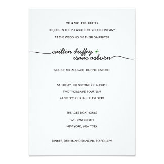 "Simply Elegant Green Wedding Invitation 5"" X 7"" Invitation Card"