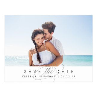 Simply Elegant Horizontal Photo Save the Date Postcard