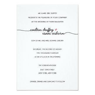"Simply Elegant Red Wedding Invitation 5"" X 7"" Invitation Card"