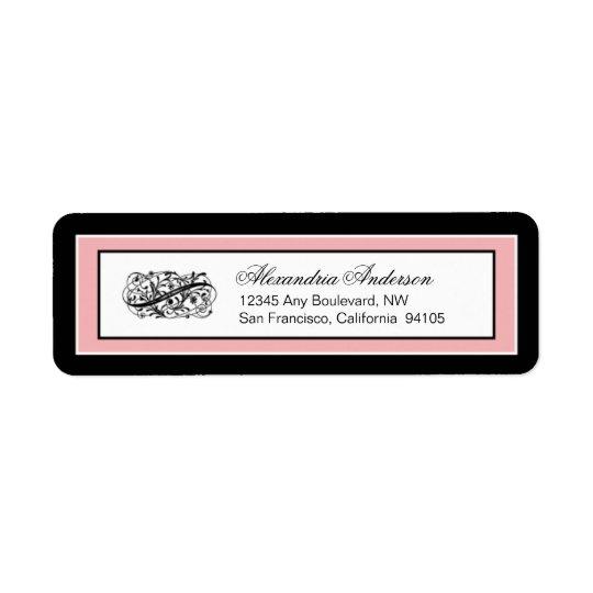 Simply Elegant Return Address Label (black/pink)