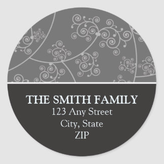 Simply Elegant Return Address Seal Ebony Sticker