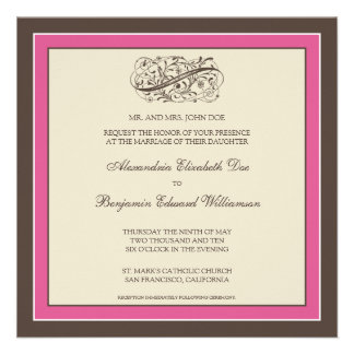 Simply Elegant Wedding Invitation fuschia