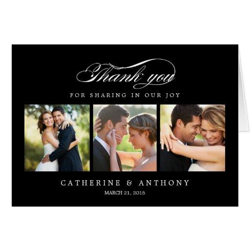 Simply Elegant Wedding Thank You Card - Black Greeting Card