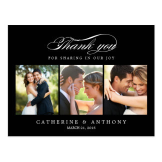 Simply Elegant Wedding Thank You Card - Black Postcard