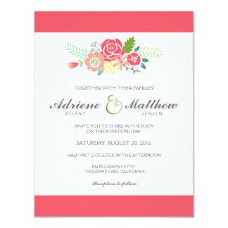 Simply Floral & Stripes Wedding Invitation / Coral Custom Invite