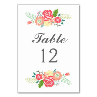 Simply Floral Table Number Table Cards